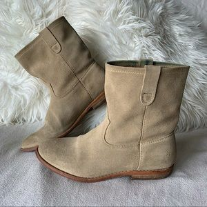 Guess Cuoio Vero Tan Suede Western Ankle Boots